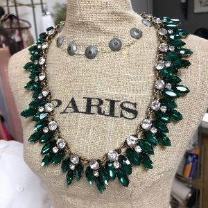 Green and rhinestone necklace